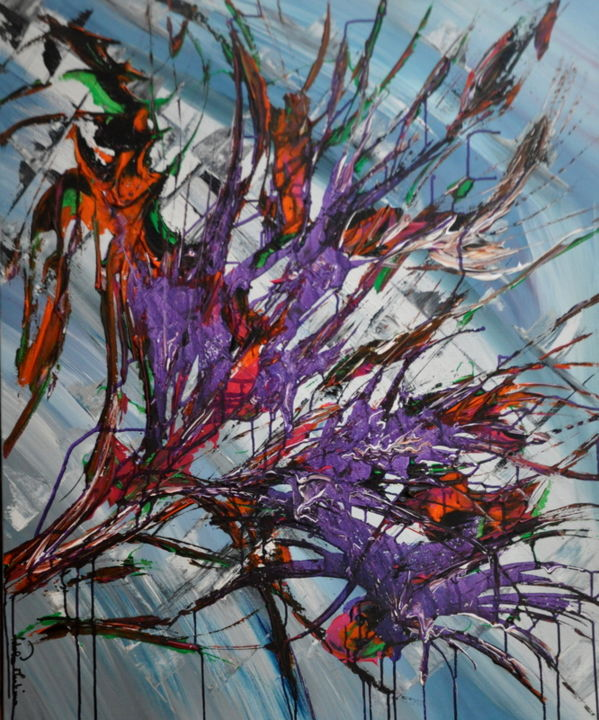 Passion en mauve - Painting,  100x81 cm ©2016 by Adelia Martins -                                            Abstract Art, Abstract Art, abstrait