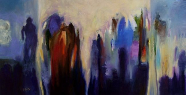 """Painting titled """"personnes"""" by Adham Bozart, Original Art, Oil"""