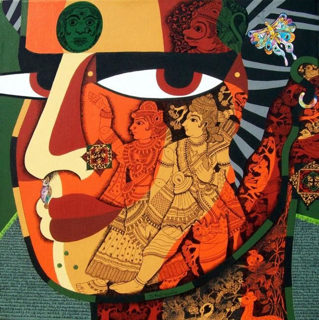 PUPPET MAKER-11 - Painting,  24x24 in, ©2009 by Bolgum Nagesh Goud -