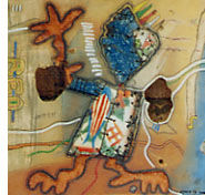 bye bye - Painting ©2002 by Komlan Adoukpo -                            Contemporary painting, bassine recuperation contemporain togo komlan adoukpo art plastique