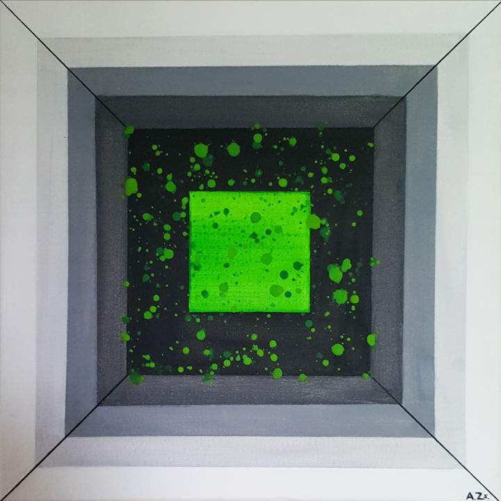 """Painting titled """"Dream In A Box"""" by Adrienn Zsakai, Original Art, Acrylic Mounted on Stretcher frame"""