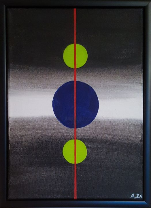 """Painting titled """"Circles And Red Line"""" by Adrienn Zsakai, Original Art, Acrylic Mounted on Stretcher frame"""