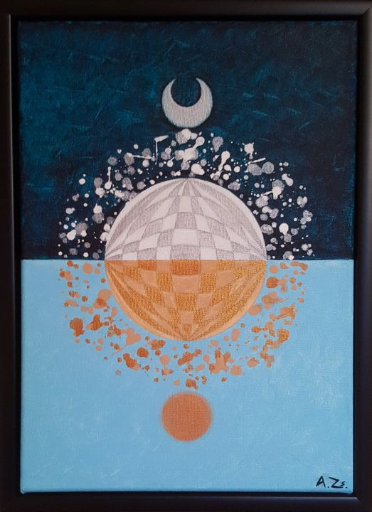 """Painting titled """"North And South"""" by Adrienn Zsakai, Original Art, Acrylic Mounted on Stretcher frame"""