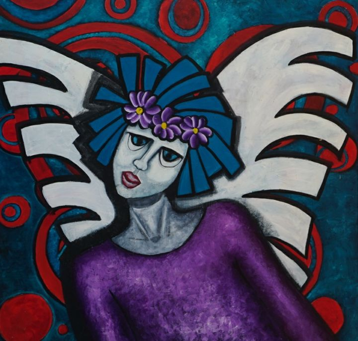 Angel - Painting,  39.4x39.4x2 in, ©2017 by Audrey -                                                                                                                                                                                                                                                                  Expressionism, expressionism-591, Angels, Classical mythology, Colors