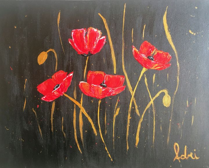 Papoulas - Painting,  50x39.5x4 cm ©2019 by Adriana Tamy Saito -                                                                                                Contemporary painting, Photorealism, Pop Art, Realism, Canvas, Flower, poppies, poppy, papoula, papoulas, spring