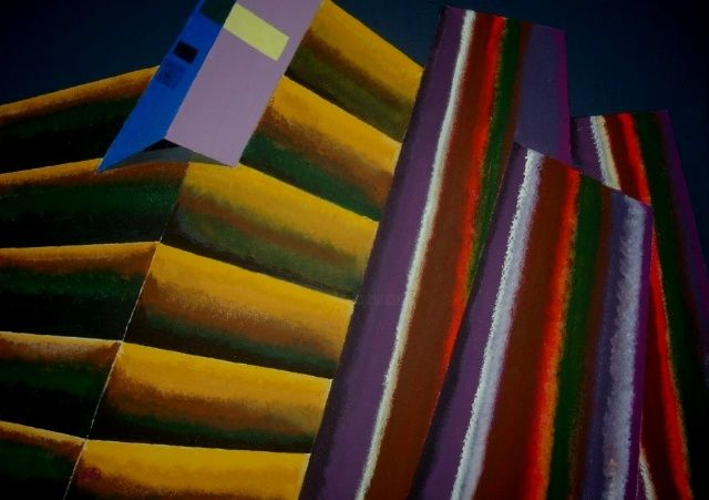 Die Stadt - The City - Painting,  19.7x27.6 in, ©2009 by Adrian Bayreuther -                                                              A city before sunrise Transmaterialism by Adrian Bayreuther