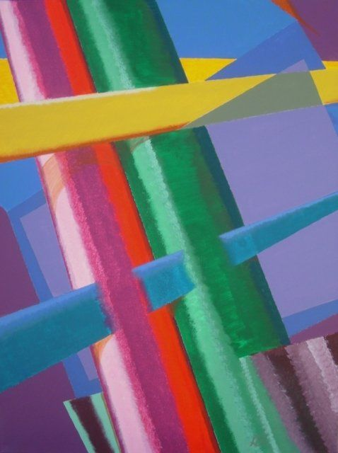 Rote und Grüne Röhre - red and green tube - Painting,  80x60 cm ©2010 by Adrian Bayreuther -                            Contemporary painting, Stil: Bayreuther-Konstruktivismus, Rote und grüne Röhre von Adrian Bayreuther