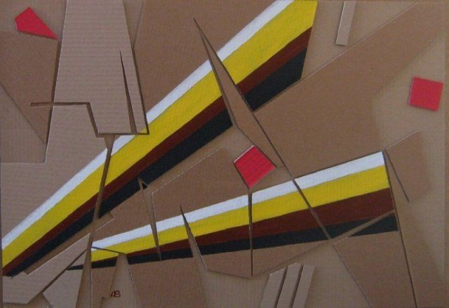 Bemalte Collage - coloured collage - Painting,  52x73 cm ©2010 by Adrian Bayreuther -                            Contemporary painting, Collage aus Verpackungskarton, bemalt - collage made of corrugated carton, painted