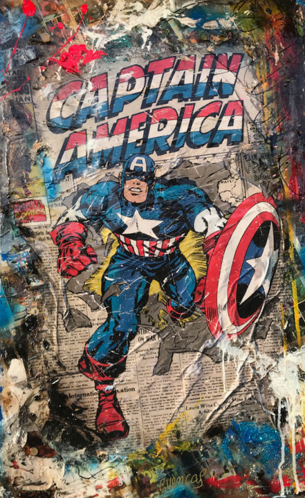 Capitan America Retro - Painting,  120x86x3 cm ©2018 by Adriano Cuencas -                                                                        Pop Art, Other, Abstract Art, Heroic-Fantasy, Capitan America, Collage, Epoxydharz