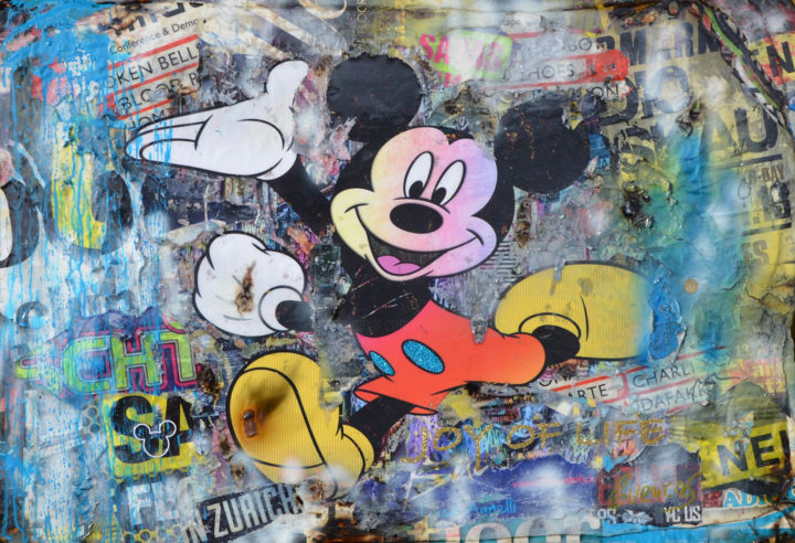 Joy of Life - Mickey Mouse - Painting,  75x110x4 cm ©2019 by Adriano Cuencas -                                                            Pop Art, Other, Comics, Mickey Mouse, Collage, Bunte Kunstwerke