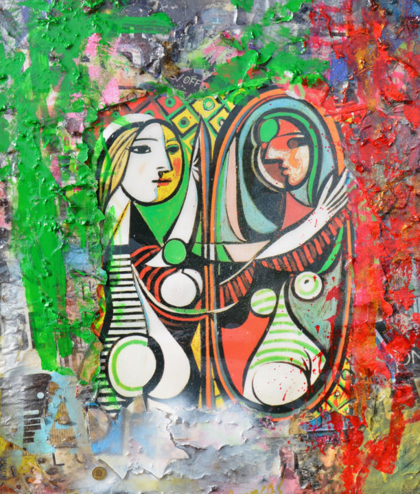 Woman Before Mirror - Picasso Series - Painting,  67x56x4 cm ©2019 by Adriano Cuencas -                                                            Pop Art, Other, Women, Pablo Picasso, Collage, Bunte Kunstwerke