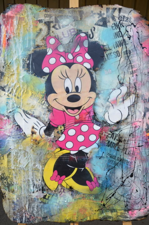 Minnie Street - Painting,  98x72x4 cm ©2019 by Adriano Cuencas -                                                                        Pop Art, Other, Comics, Pop Culture / celebrity, Minnie Mouse, Disney, Pop Art, Collage