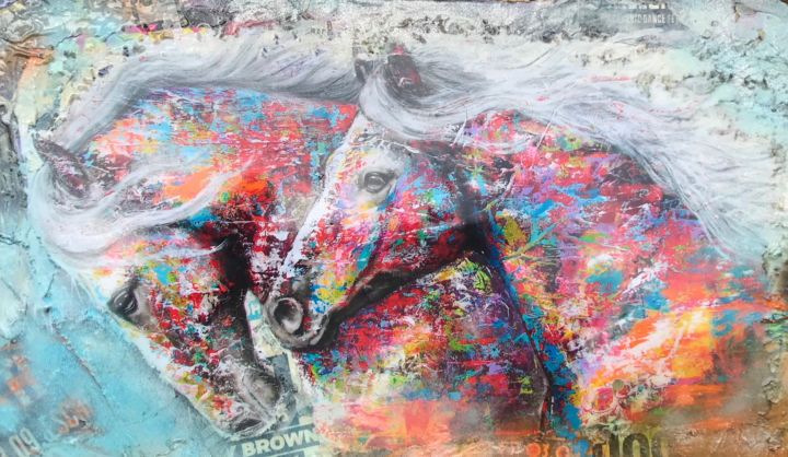 Collage Twin Horses - Painting,  70x117x4 cm ©2019 by Adriano Cuencas -                                                            Pop Art, Other, Animals, Pferde, Pop Art, Collage