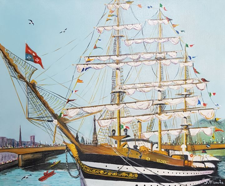 AMERICO VESPUCCI.  ITALIE - Painting,  38x46 cm ©2019 by FRANCOIS MANCHE -                                    Boat, Sailboat