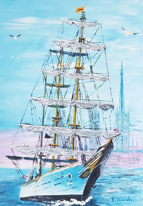 VIEUX GREEMENT - Painting,  46x33 cm ©2019 by FRANCOIS MANCHE -                                    Boat, Sailboat