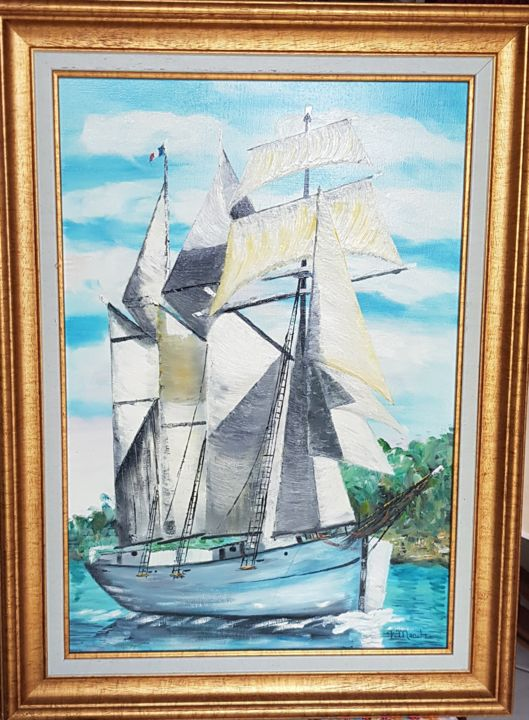 LE MARITE france - Painting,  55.5x38.5 cm ©2019 by FRANCOIS MANCHE -                                    Boat, Sailboat