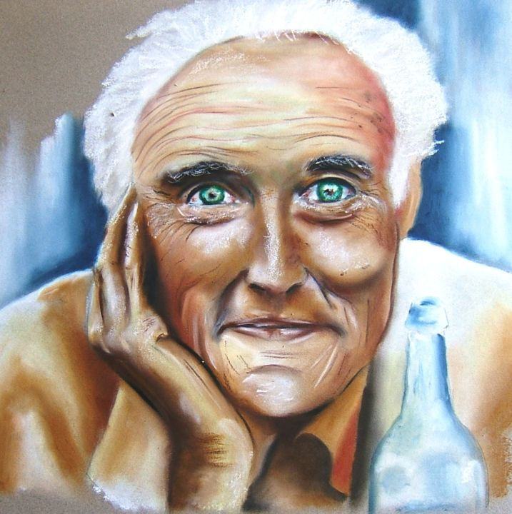 """Drawing titled """"Homme avec bouteille"""" by Adtheo, Original Art, Pastel"""