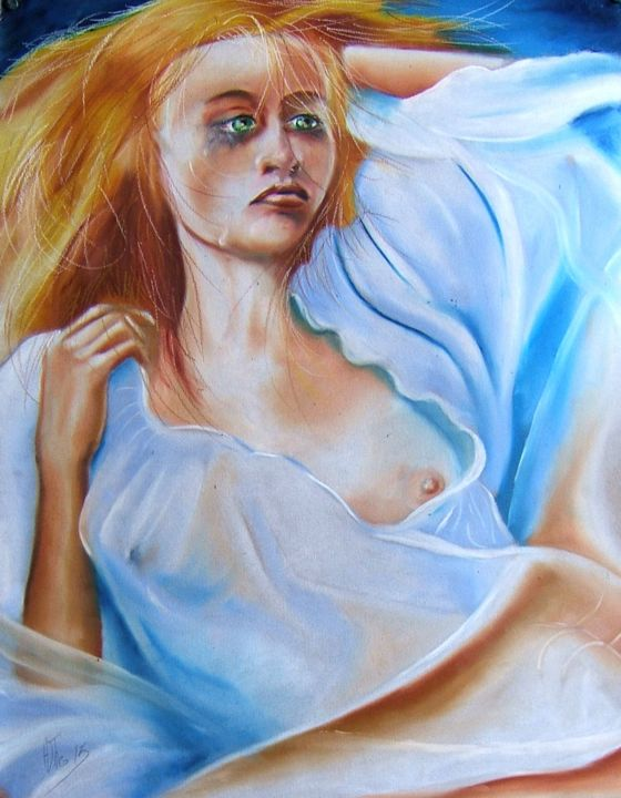 """Drawing titled """"Et Marianne accepta…"""" by Adtheo, Original Art, Pastel"""