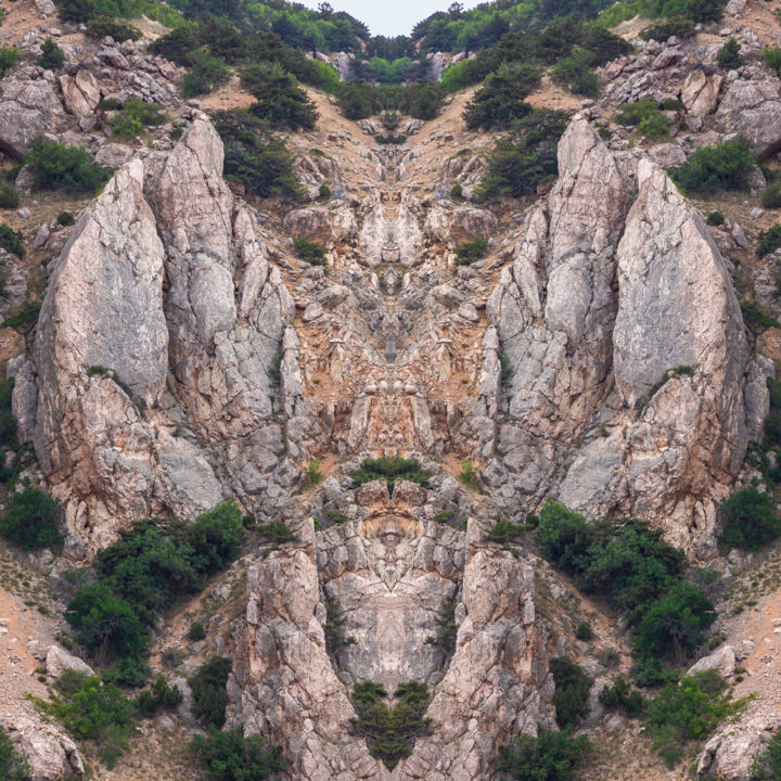 Angel - Photography,  35.4x35.4 in, ©2018 by Aleksei Duplyakov -                                                                                                                                                                                                                                                                                                                                                                                                                                                                                                                                                                                                                                                                                                                              Abstract, abstract-570, Abstract Art, Mountainscape, Spirituality, Landscape, Fantasy, neoabstract, phantasmagoria, photography, reflection, rock, surreal, kaleidoscope, contemporaryart
