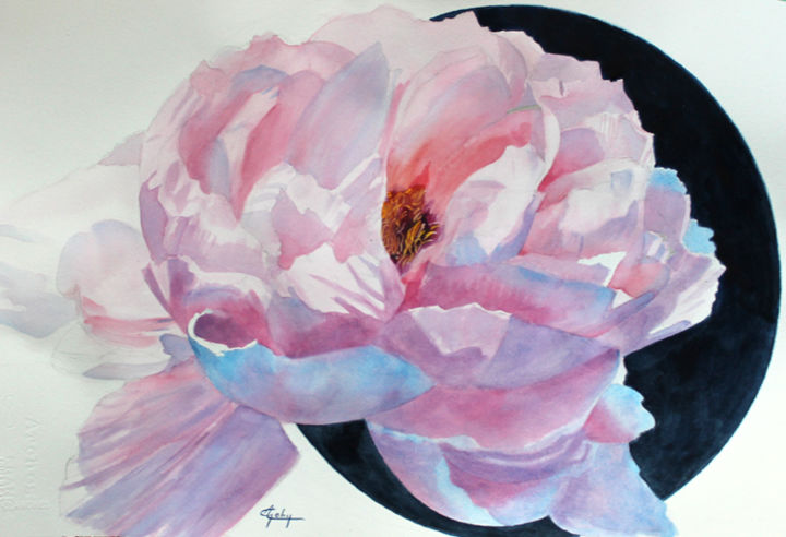 Une Pivoine - Painting,  36x56 cm ©2017 by Adyne Gohy -                        Realism