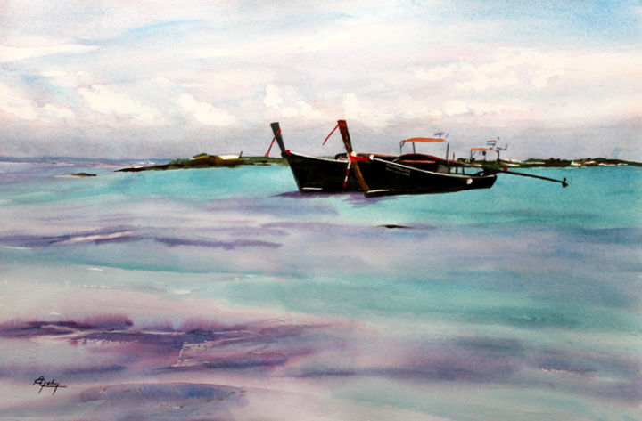 En Thailande - Painting,  36x55 cm ©2017 by Adyne Gohy -                                                        Figurative Art, Paper, Boat