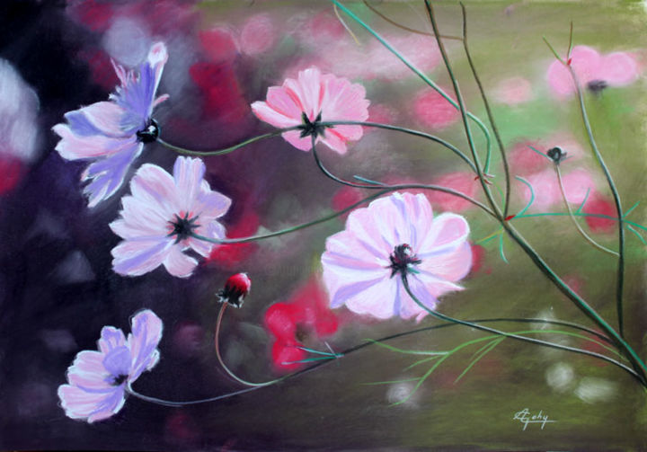 """Coup de coeur en Champagne """"Les Cosmos"""" - Painting,  40x50 cm ©2018 by Adyne Gohy -                                                        Realism, Paper, Flower"""