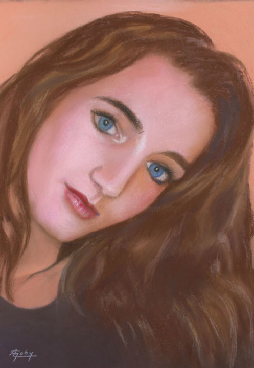 Laureline - Painting,  15.8x11.8 in, ©2018 by Adyne Gohy -                                                                                                                                                                          Figurative, figurative-594, Portraits