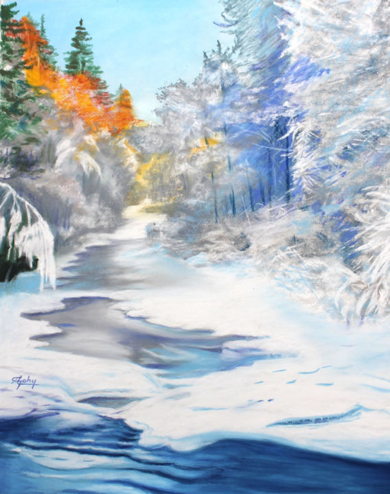 Un bel hiver! - Painting,  60x50 cm ©2018 by Adyne Gohy -                                        Realism, Paper