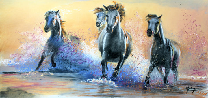 Une autre chevauchée - Painting,  23x50 cm ©2019 by Adyne Gohy -                                                        Realism, Paper, Animals