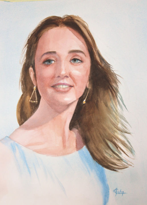 Laureline - Painting,  44x32 cm ©2019 by Adyne Gohy -                                        Realism, Women