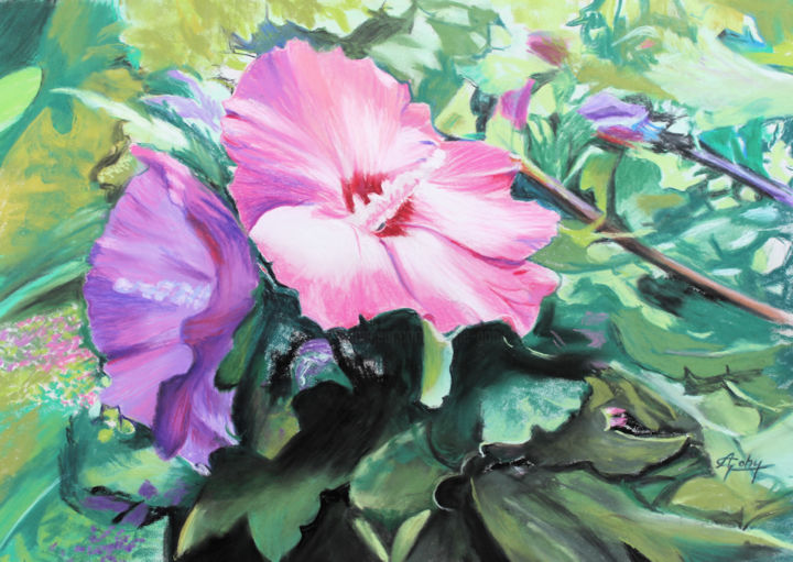 Hibiscus - Painting,  11.8x15.8 in ©2019 by Adyne Gohy -                                        Figurative Art, Flower