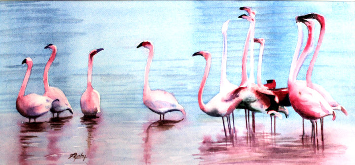 Des Flamants roses - Painting,  13.8x19.7 in ©2019 by Adyne Gohy -                                        Realism, Animals