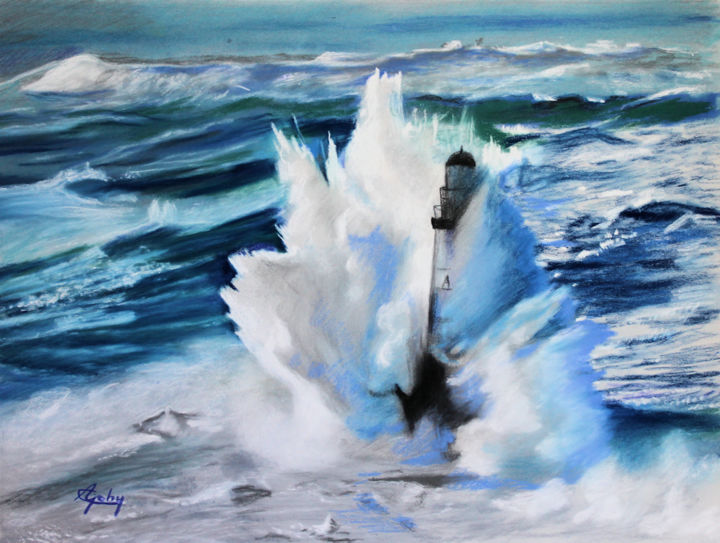 Le Phare Ar-Men - Painting,  11.8x15.8x0.4 in, ©2019 by Adyne Gohy -                                                                                                                                                                                                                                                                                                                  Figurative, figurative-594, Seascape, phare, mer, bleu