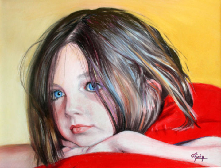 Kid Painting, pastel, figurative, artwork by Adyne Gohy