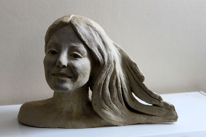Laureline - Sculpture,  7.9x12.6x4.3 in, ©2020 by Adyne Gohy -                                                                                                                                                                                                                      Figurative, figurative-594, People, Portraits