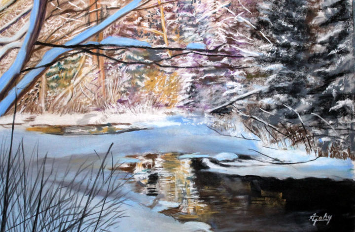 Dans Les Laurentides - Painting,  12.6x18.5x0.4 in, ©2020 by Adyne Gohy -                                                                                                                                                                          Figurative, figurative-594, Nature