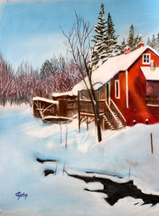 Dans Les Laurentides (Québec) - Painting,  15.8x11.8x0.4 in, ©2020 by Adyne Gohy -                                                                                                                                                                                                                                                                                                                  Figurative, figurative-594, Nature, neige, hiver, maison