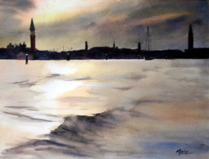 En quittant Venise - Painting,  14.2x17.7x0.4 in, ©2014 by Adyne Gohy -                                                                                                                                                                          Figurative, figurative-594, Travel