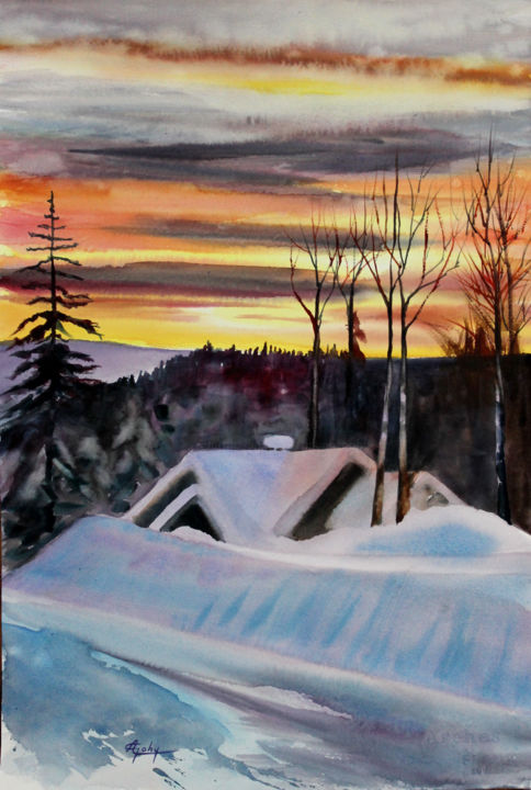 Dans Les Laurentides ( Québec) - Painting,  21.7x13.8 in, ©2014 by Adyne Gohy -                                                                                                                                                                          Figurative, figurative-594, Seasons