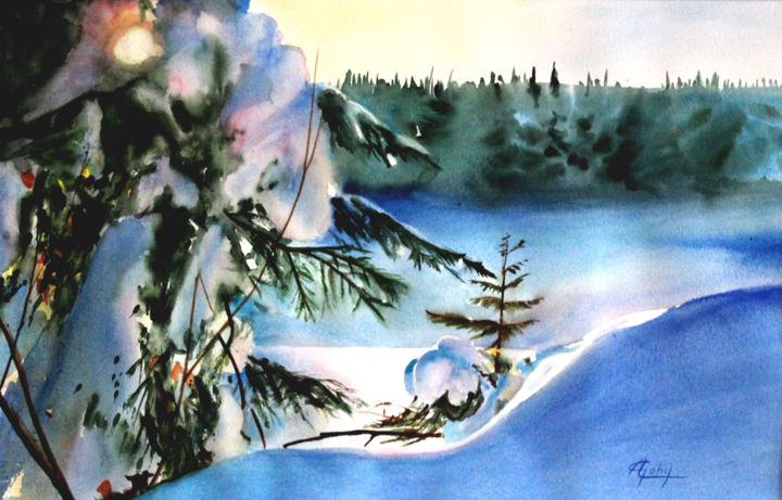 L'hiver dans Les Laurentides (Québec) - Painting,  13.8x21.7 in, ©2013 by Adyne Gohy -                                                                                                                                                                          Figurative, figurative-594, Nature