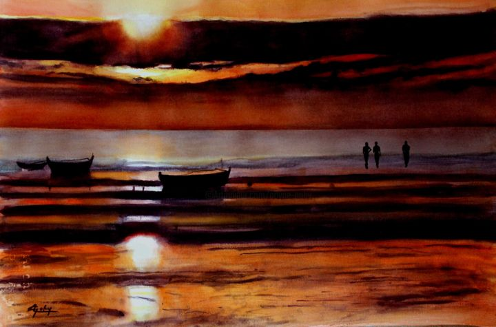 A Madagascar - Painting,  14.6x21.7 in, ©2014 by Adyne Gohy -                                                                                                                                                                                                                          Figurative, figurative-594, Beach, paysage