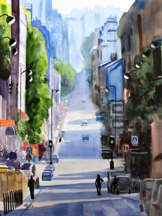 """Painting titled """"Ménilmontant"""" by Adyne Gohy, Original Art, Watercolor"""