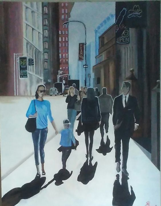 Shopping.jpg - Painting,  160x140x3 cm ©2018 by Aéro -                                        Figurative Art, Cityscape