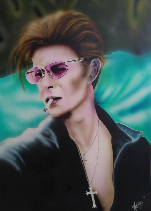 David bowie.jpg - Painting,  70x50 cm ©2018 by Aéro -