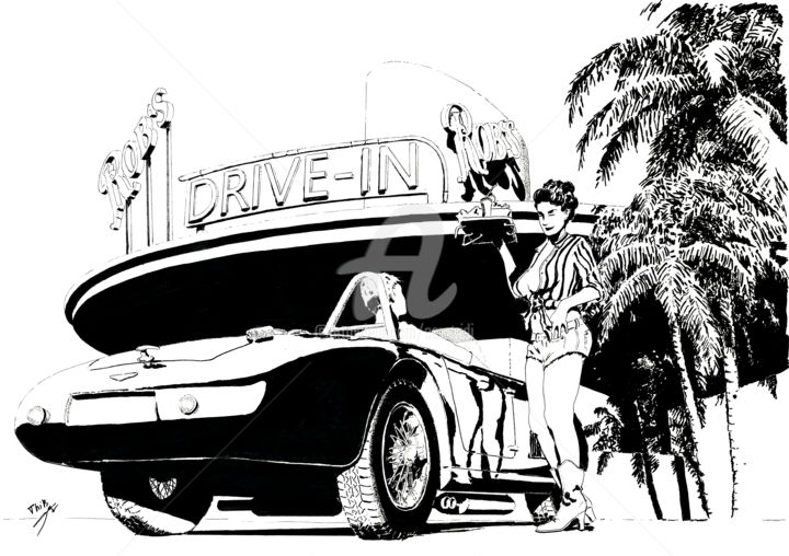 """Drawing titled """"Drive-in"""" by Thibault Cernaix, Original Art, Ink"""
