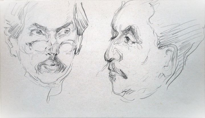 """Drawing titled """"FACES / AFTER V. SE…"""" by Vale Ovchinnikov, Original Art, Pencil"""
