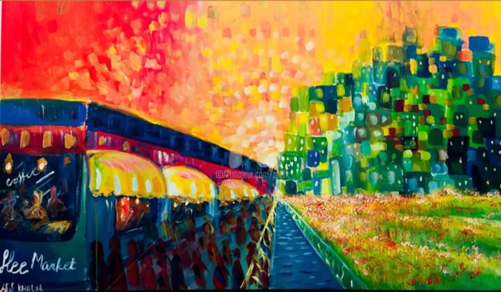 Flee Market - Painting,  30x48x1.5 in ©2018 by Afaf -                                                            Abstract Expressionism, Canvas, Abstract Art, environment, life, dynamic, colorful, bright, sunset, city, cityscape, town, flee market, light, coffee, impressionism, abstract, people, shops