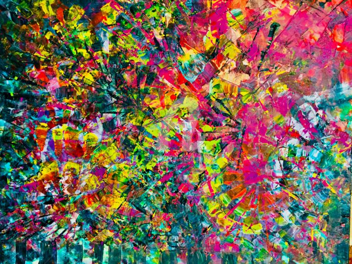 Colors Collision - Painting,  24x36 in ©2018 by Afaf -                                                        Abstract Art, Canvas, Abstract Art