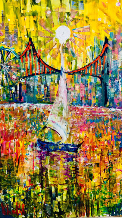 la vie arc en ciel (Rainbow Life) - Painting,  48x36x1.5 in ©2018 by Afaf -                                                                                                                        Abstract Art, Conceptual Art, Contemporary painting, Canvas, Cityscape, Colors, Light, Seascape, boat, life, colors, abstract, city, town, sky, sun, light, powerful, beautiful, inspire, creative, new, trending, vibrant, colorful, children art, culture, joy, soul, satisfying, landscape, boats