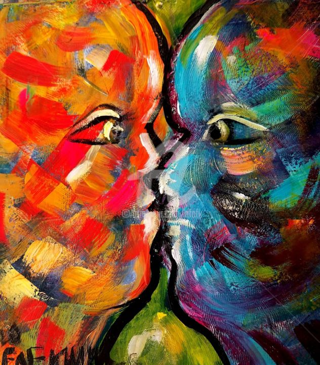 """Painting titled """"Kissing the Sun"""" by Afaf, Original Art, Acrylic"""